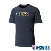 K-SWISS Neon KS Logo Tee排汗T恤-男-黑