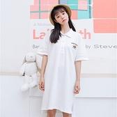 短袖洋裝-POLO領寬鬆白色休閒連身裙73xm9【時尚巴黎】