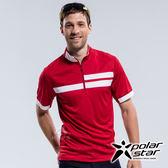 PolarStar 男 吸排短袖立領上衣『紅』P18151 排汗衣 排汗衫 露營.戶外.吸濕排汗.透氣快乾.抗UV