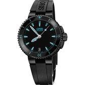 ORIS 豪利時 Aquis 時間之海中型潛水機械錶-鍍黑x藍/36mm 0173376524725-0741834B