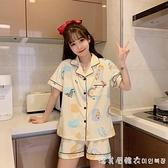 睡衣女夏季純棉短袖短褲可愛日系夏天兩件套裝薄款開衫大碼家居服 美眉新品