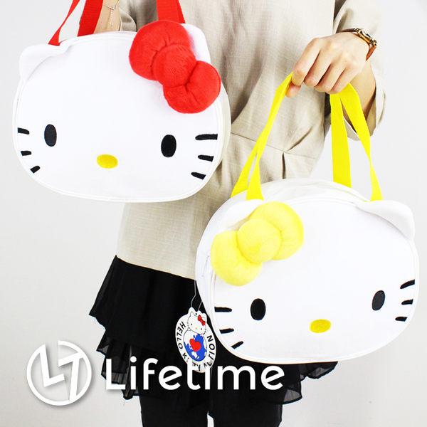 ﹝Kitty臉型便當袋﹞正版手提餐袋 便當袋 手提包 保溫袋 凱蒂貓〖LifeTime一生流行館〗B19069