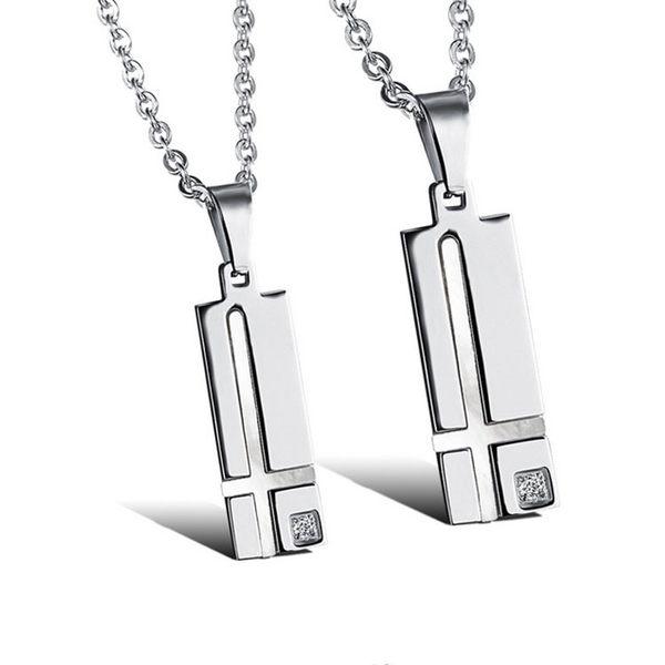 【5折超值價】  【316L西德鈦鋼】最新款歐美風格經典時尚十字架鑲鑽造型情侶款鈦鋼項鍊