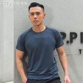 健身服夏季休閒健身服短袖男寬鬆運動跑步速幹衣圓領訓練上衣健身房T恤 快速出貨