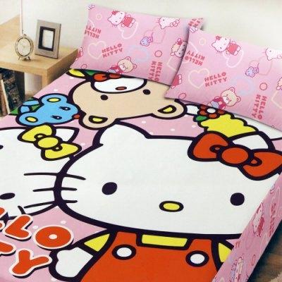 ☆Hello Kitty ☆凱蒂貓 搖粒絨刷毛雙人加大床包三件組-歡樂同好會 台灣製造 品質有保障