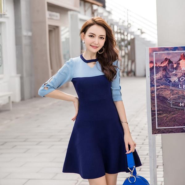 清倉388 韓國風名媛修身撞色拼接針織長袖洋裝