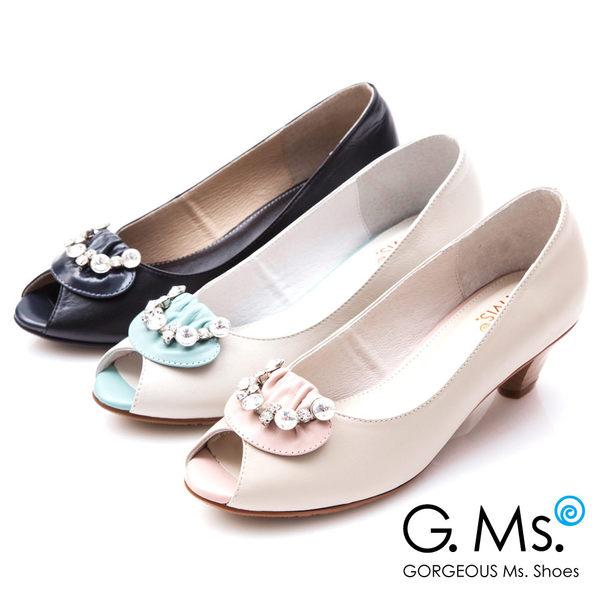 G.Ms.*MIT系列-牛皮魚口鑽飾粗跟鞋*粉紅