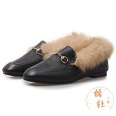 毛毛鞋女兔毛秋冬鞋子外穿加絨氣質豆豆鞋【橘社小鎮】