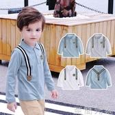 童裝男童純棉POLO衫長袖T恤秋冬新品兒童寶寶學院風長袖上衣T 至簡元素