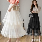 網紗蛋糕裙 女2020春季新款中長款雙層蕾絲拼接網紗裙子高腰仙女半身裙 JX1524『東京衣社』