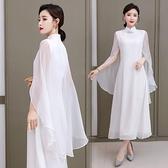 洋装 中大尺碼 中式夏季女改良禪意2021中國白色披肩仙氣質改良漢服復古連身裙