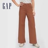Gap女裝 簡約風格純色闊腿休閒褲 616968-棕色