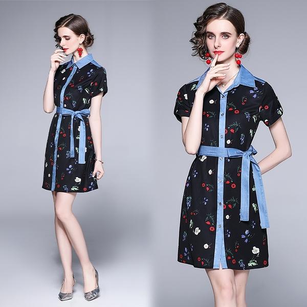 VK精品服飾 歐美風時尚氣質方領收腰繫帶單排釦短袖洋裝