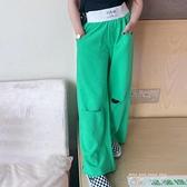 女童休閒褲韓版2021夏季新款兒童破洞時尚薄寬鬆寬管褲高腰潮洋氣 米娜小鋪