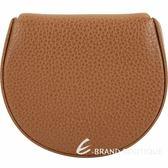 LONGCHAMP Le Foulonne 荔紋牛皮圓形零錢包(棕色) 1840681-07