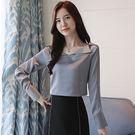 *魔法之城*LA434韓版V領緞面長袖雪紡衫女一字肩露鎖骨上衣顯瘦襯衣