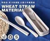 同色系【WS餐具三件套】韓系北歐環保無毒小麥秸稈 餐筷三件組 筷子 叉子 深R角湯匙 附盒裝