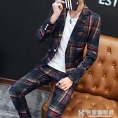 西裝外套男士套裝青少年便小西裝發型師職業修身韓版套裝休閒西服 快意購物網