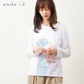 a la sha+a 水彩貓的層次排列長袖T