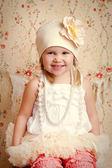 嬰幼兒保暖綿帽玫瑰淡粉色奶油底Jamie 0552