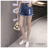 Catworld 正韓空運*刷破鬚邊高腰牛仔短褲【14001163】‧M/L/XL
