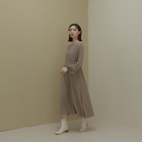 Queen Shop【01085747】素面雙抽繩設計雪紡洋裝 兩色售*現+預*