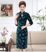 中老年女裝金絲絨旗袍媽媽大碼彈力旗袍LJ6704『miss洛羽』