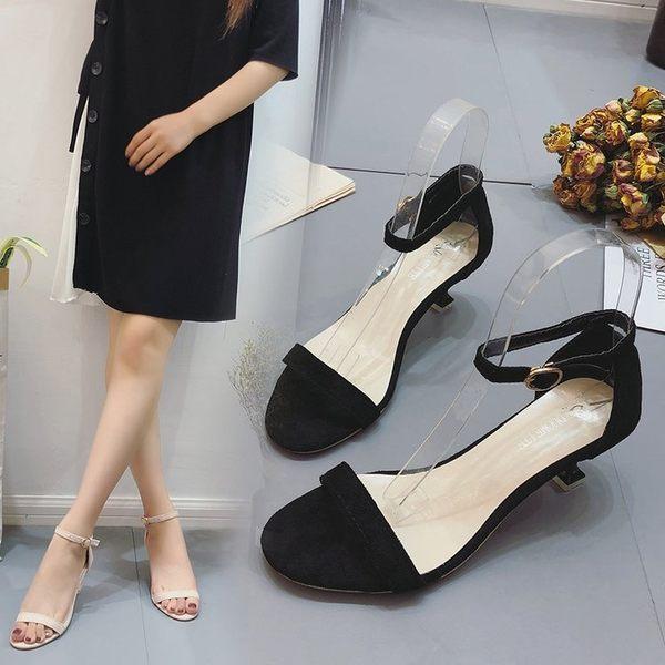 韓版夏季高跟鞋女低跟3cm絨面露趾性感細跟羅馬鞋百搭時尚涼鞋子歐歐流行館