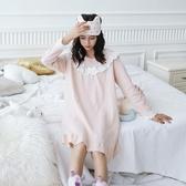 2019春季新款公主睡裙女夏孕婦宮廷甜美可愛純棉寬鬆韓版學生長袖