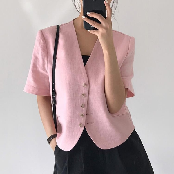 韓國CHIC夏季小眾氣質V領粉嫩顯白單排扣寬松百搭短袖西裝小外套