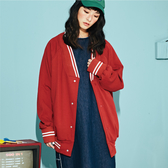 SISJEANS-橘紅色寬鬆衛衣棒球外套【18293006】