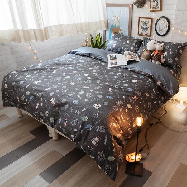 星際銀河 K2 雙人King Size床包薄被套四件組 純精梳棉 台灣製