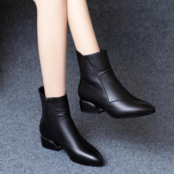 皮質短靴女粗跟2021秋冬新款百搭春秋單靴中跟尖頭皮鞋英倫馬丁靴 3C數位百貨