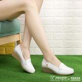 護士鞋 護士鞋白色單鞋牛筋底軟底舒服坡跟工作鞋美容女鞋醫生媽媽鞋【韓國時尚週】