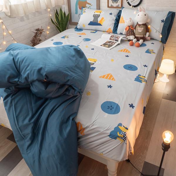月光藍躲貓貓 D3雙人床包與雙人新式兩用被5件組 100%精梳棉(60支) 台灣製 棉床本舖