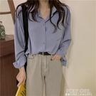 早秋新款復古港風chic藍色長袖襯衫女士韓版寬鬆薄款外穿百搭上衣 夏季新品