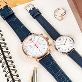 EMPORIO ARMANI 亞曼尼 質感藍魅皮革對錶 AR11123+AR2509 情侶對錶 皮革錶帶 熱賣中!