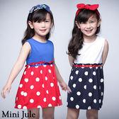 童裝 洋裝 大圓點拼接純色無袖洋裝(共2色) Azio Kids 美國派 童裝