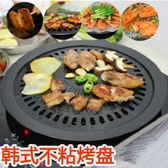 韓式不粘烤盤燒烤盤圓形烤肉鍋家用戶外便攜式鐵板燒買就送烤盤夾【快速出貨】