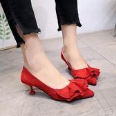 婚鞋女夏新款韓版紅色新娘鞋5.5cm中跟尖頭淺口高跟鞋 XY2149 【KIKIKOKO】