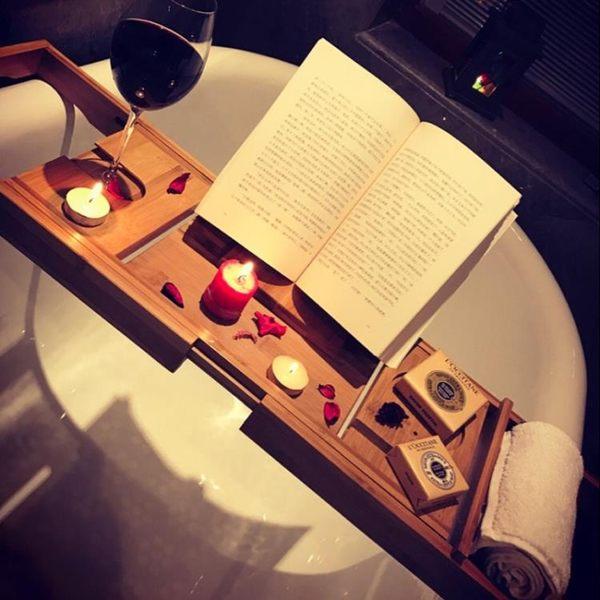 雙十一狂歡節 浴缸架浴室伸縮置物架板多功能浴缸隔板衛生間泡澡iPad手機支架竹 熊貓本