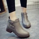 雙扣環帶拉鍊短靴子 顏色:黑色/灰色 尺碼:36~40