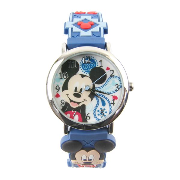 【Disney】米奇可愛Q版 造型橡膠錶帶兒童錶-帥氣藍/MK-3K2199P-008DB/原廠授權享一年保固