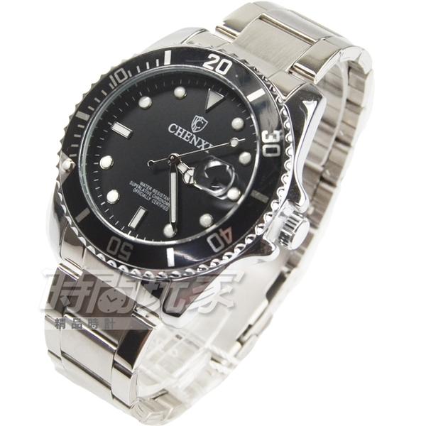 CHENXI晨儀 夜光指針石英腕錶 防大鏡日期視窗 可旋轉數字刻度外圈 男錶 防水手錶 黑 CH085黑