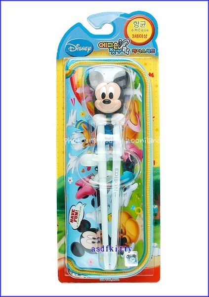 嬰童用品【asdfkitty可愛家】米奇右手用三點式兒童學習筷含外出袋-前端加大好夾取-韓國製