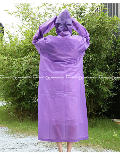 【戶外雨衣】加厚款可重複使用磨砂半透明男女通用風衣式連帽雨衣 環保雨具 下雨騎車旅行出遊