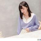 《AB14571-》復古珍珠打褶花瓣領小...