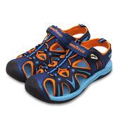 LIKA夢 GOOD YEAR 多功能運動護趾涼鞋 迷幻星河系列 藍橘 78806 中大童