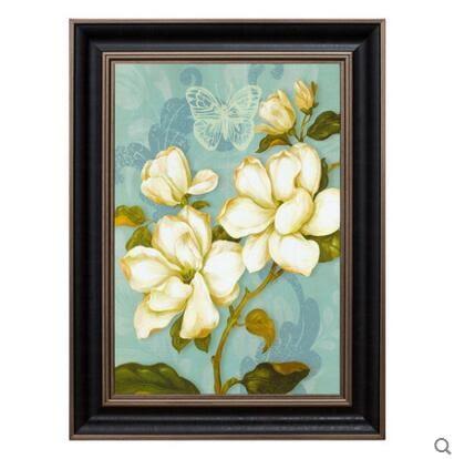 美式裝飾畫臥室牆畫客廳掛畫有框花卉組合玄關花鳥沙發背景牆ZB