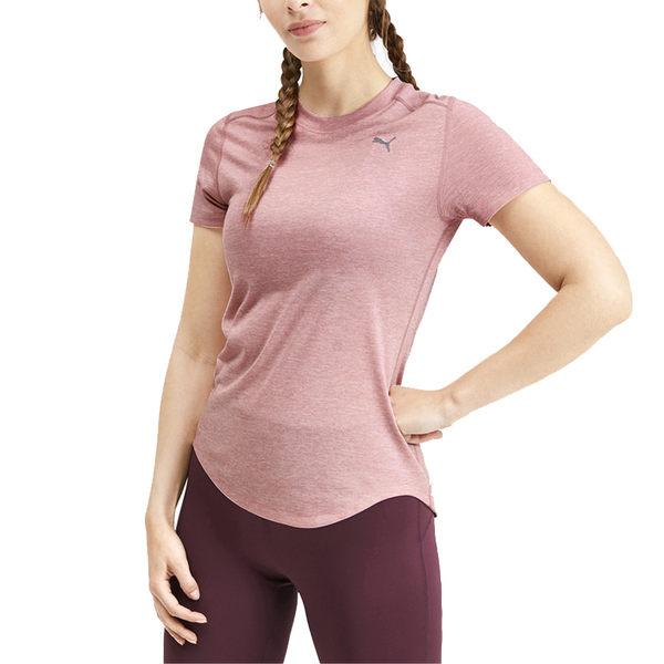 Puma Ignite Heather 女 粉 短袖 上衣 吸濕 排汗 透氣 反光logo 合身剪裁 棉質 短T 51825603
